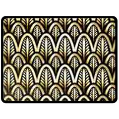 Art Deco Gold Black Shell Pattern Double Sided Fleece Blanket (large)  by 8fugoso