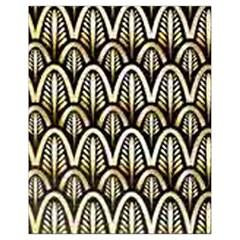 Art Deco Gold Black Shell Pattern Drawstring Bag (small) by 8fugoso