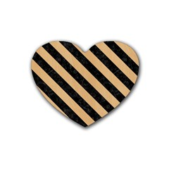 Stripes3 Black Marble & Natural White Birch Wood (r) Heart Coaster (4 Pack)  by trendistuff