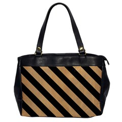 Stripes3 Black Marble & Natural White Birch Wood (r) Office Handbags