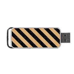 Stripes3 Black Marble & Natural White Birch Wood (r) Portable Usb Flash (two Sides) by trendistuff