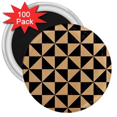 Triangle1 Black Marble & Natural White Birch Wood 3  Magnets (100 Pack) by trendistuff