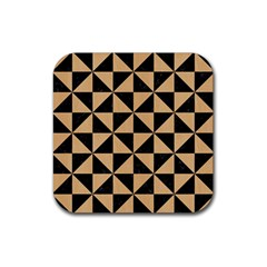 Triangle1 Black Marble & Natural White Birch Wood Rubber Coaster (square)  by trendistuff