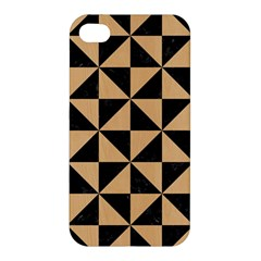 Triangle1 Black Marble & Natural White Birch Wood Apple Iphone 4/4s Hardshell Case by trendistuff
