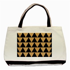 Triangle2 Black Marble & Natural White Birch Wood Basic Tote Bag (two Sides) by trendistuff