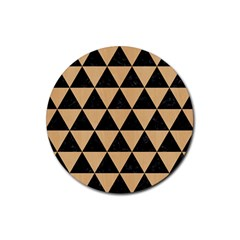 Triangle3 Black Marble & Natural White Birch Wood Rubber Round Coaster (4 Pack)  by trendistuff