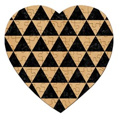 Triangle3 Black Marble & Natural White Birch Wood Jigsaw Puzzle (heart) by trendistuff