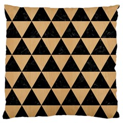 Triangle3 Black Marble & Natural White Birch Wood Large Flano Cushion Case (one Side) by trendistuff