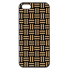 Woven1 Black Marble & Natural White Birch Wood Apple Iphone 5 Seamless Case (black) by trendistuff