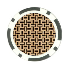 Woven1 Black Marble & Natural White Birch Wood (r) Poker Chip Card Guard by trendistuff