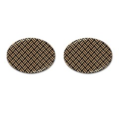 Woven2 Black Marble & Natural White Birch Wood Cufflinks (oval) by trendistuff