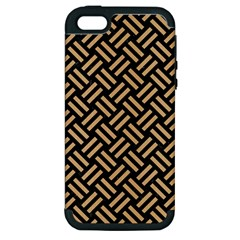 Woven2 Black Marble & Natural White Birch Wood Apple Iphone 5 Hardshell Case (pc+silicone) by trendistuff