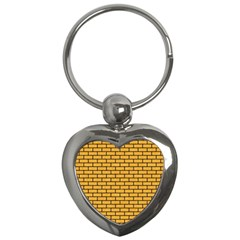 Brick1 Black Marble & Orange Colored Pencil (r) Key Chains (heart)  by trendistuff