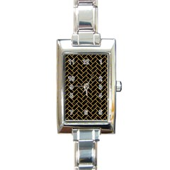 Brick2 Black Marble & Orange Colored Pencil Rectangle Italian Charm Watch