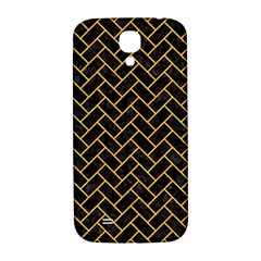 Brick2 Black Marble & Orange Colored Pencil Samsung Galaxy S4 I9500/i9505  Hardshell Back Case by trendistuff