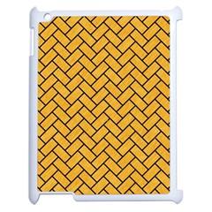 Brick2 Black Marble & Orange Colored Pencil (r) Apple Ipad 2 Case (white) by trendistuff