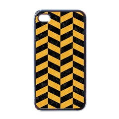Chevron1 Black Marble & Orange Colored Pencil Apple Iphone 4 Case (black) by trendistuff
