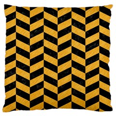 Chevron1 Black Marble & Orange Colored Pencil Standard Flano Cushion Case (two Sides) by trendistuff