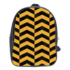 Chevron2 Black Marble & Orange Colored Pencil School Bag (large) by trendistuff