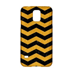 Chevron3 Black Marble & Orange Colored Pencil Samsung Galaxy S5 Hardshell Case  by trendistuff