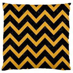 Chevron9 Black Marble & Orange Colored Pencil Standard Flano Cushion Case (one Side) by trendistuff