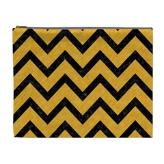 Chevron9 Black Marble & Orange Colored Pencil (r) Cosmetic Bag (xl) by trendistuff