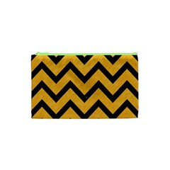 Chevron9 Black Marble & Orange Colored Pencil (r) Cosmetic Bag (xs)