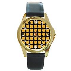 Circles1 Black Marble & Orange Colored Pencil Round Gold Metal Watch by trendistuff