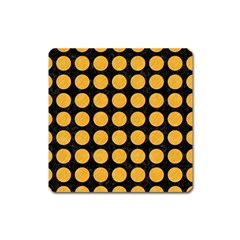 Circles1 Black Marble & Orange Colored Pencil Square Magnet by trendistuff