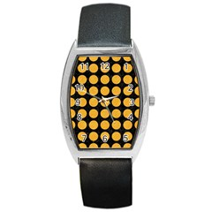 Circles1 Black Marble & Orange Colored Pencil Barrel Style Metal Watch by trendistuff