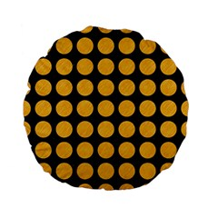 Circles1 Black Marble & Orange Colored Pencil Standard 15  Premium Flano Round Cushions by trendistuff