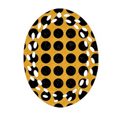 Circles1 Black Marble & Orange Colored Pencil (r) Oval Filigree Ornament (two Sides) by trendistuff