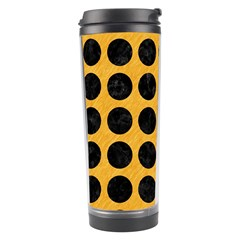 Circles1 Black Marble & Orange Colored Pencil (r) Travel Tumbler by trendistuff