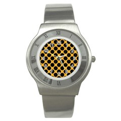 Circles2 Black Marble & Orange Colored Pencil (r) Stainless Steel Watch by trendistuff
