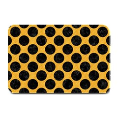 Circles2 Black Marble & Orange Colored Pencil (r) Plate Mats by trendistuff