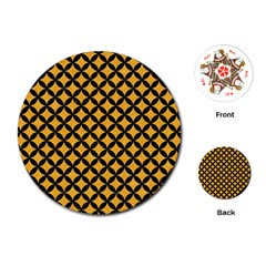 Circles3 Black Marble & Orange Colored Pencil (r) Playing Cards (round)