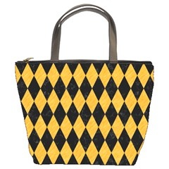 Diamond1 Black Marble & Orange Colored Pencil Bucket Bags by trendistuff