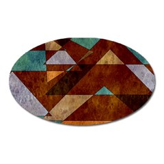 Turquoise And Bronze Triangle Design With Copper Oval Magnet by theunrulyartist