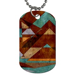 Turquoise And Bronze Triangle Design With Copper Dog Tag (two Sides) by theunrulyartist