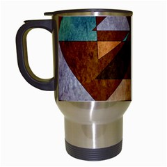 Turquoise And Bronze Triangle Design With Copper Travel Mugs (white) by digitaldivadesigns