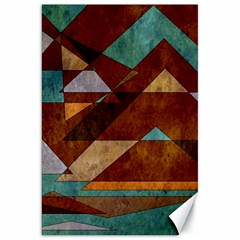 Turquoise And Bronze Triangle Design With Copper Canvas 20  X 30   by theunrulyartist