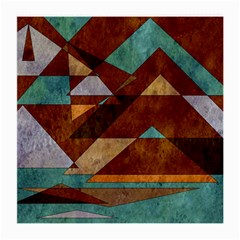 Turquoise And Bronze Triangle Design With Copper Medium Glasses Cloth (2 Side) by digitaldivadesigns
