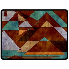 Turquoise And Bronze Triangle Design With Copper Fleece Blanket (large)  by theunrulyartist