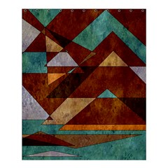 Turquoise And Bronze Triangle Design With Copper Shower Curtain 60  X 72  (medium)  by theunrulyartist