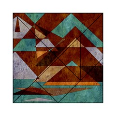 Turquoise And Bronze Triangle Design With Copper Acrylic Tangram Puzzle (6  X 6 ) by theunrulyartist