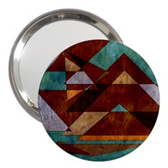 Turquoise And Bronze Triangle Design With Copper 3  Handbag Mirrors by theunrulyartist
