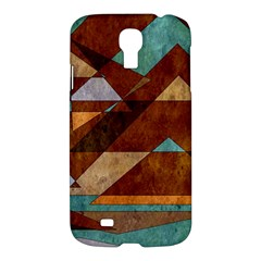 Turquoise And Bronze Triangle Design With Copper Samsung Galaxy S4 I9500/i9505 Hardshell Case by digitaldivadesigns