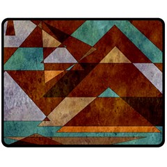 Turquoise And Bronze Triangle Design With Copper Double Sided Fleece Blanket (medium)  by theunrulyartist