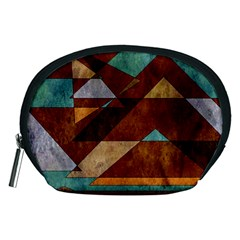 Turquoise And Bronze Triangle Design With Copper Accessory Pouches (medium)  by digitaldivadesigns