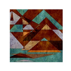 Turquoise And Bronze Triangle Design With Copper Small Satin Scarf (square) by theunrulyartist